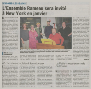 L'Ensemble Rameau chantera à NY