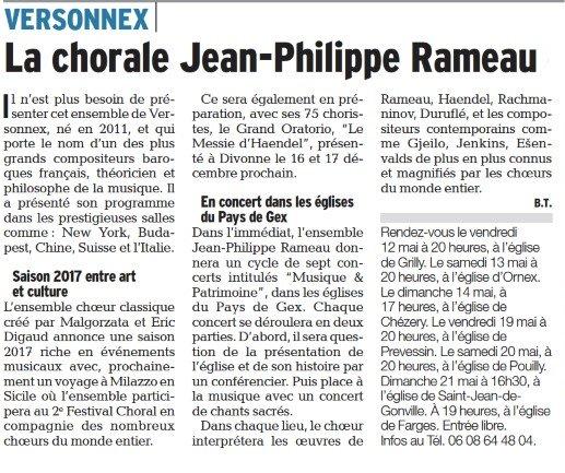 La chorale JP Rameau en tournée