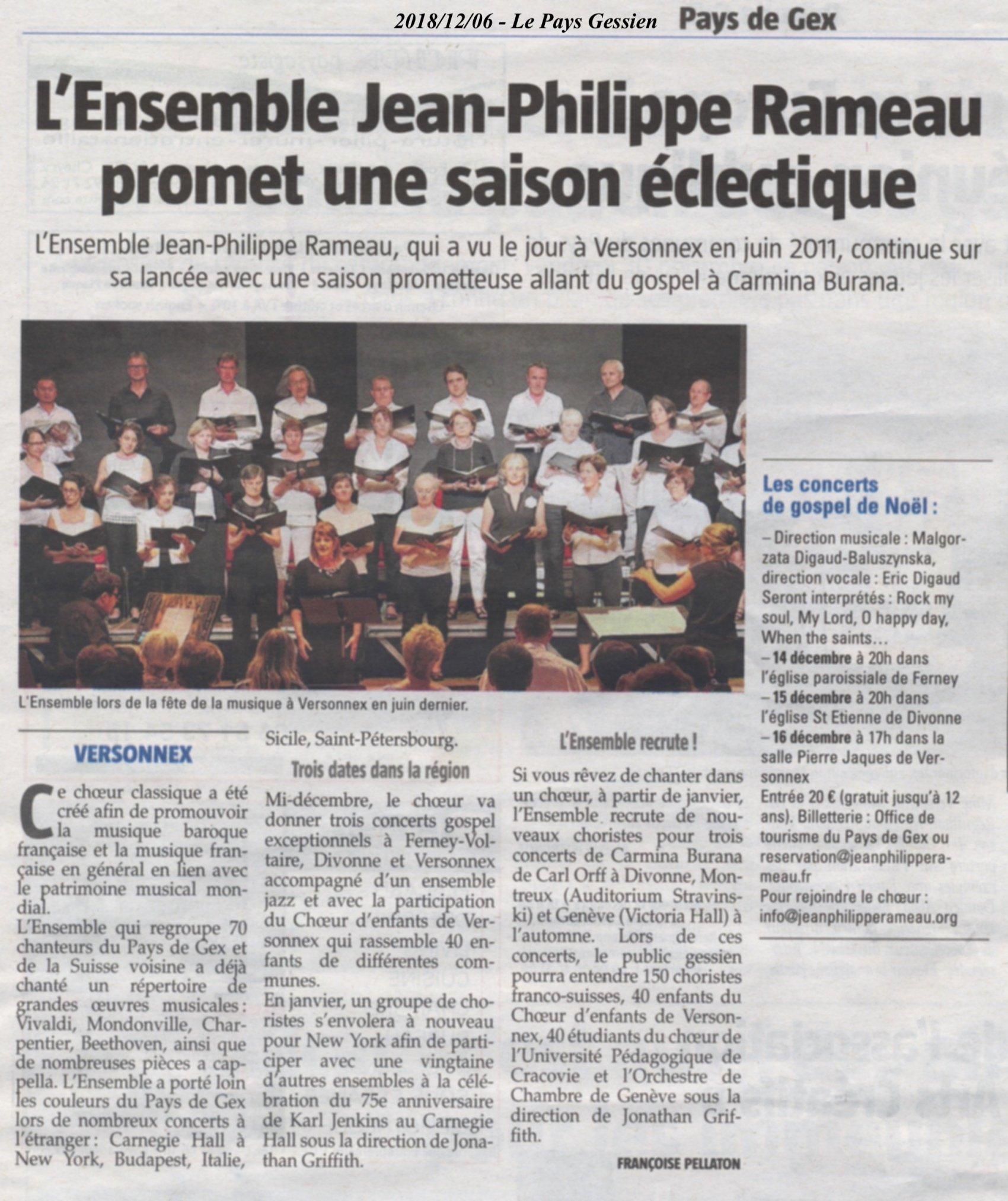 L'Ensemble JP Rameau promet une saison éclectique