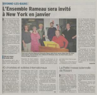 L'Ensemble Rameau chantera à NY