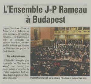 Concert à Budapest octobre 2014