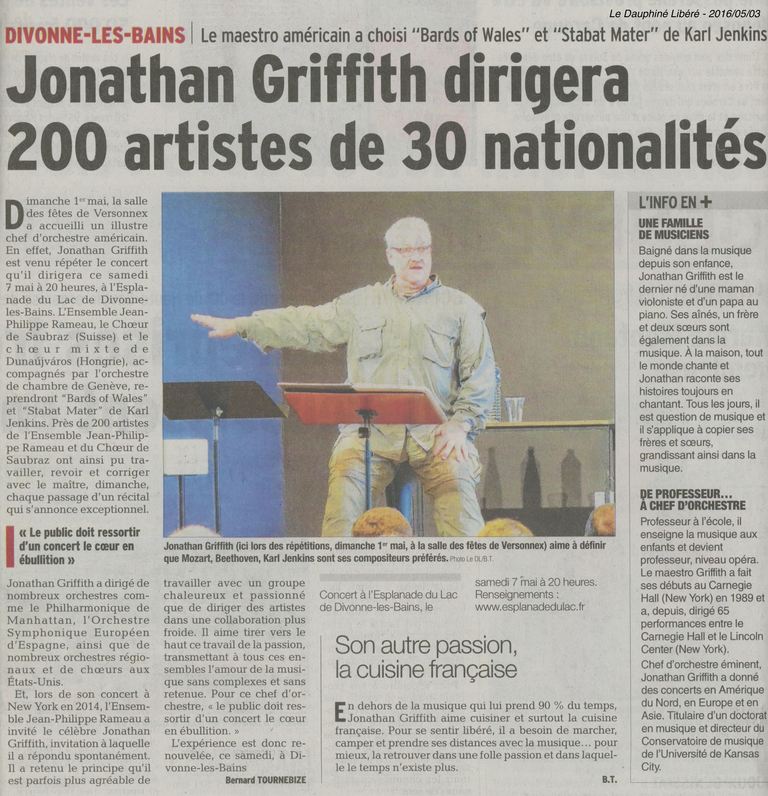 Jonathan Griffith dirigera 200 artistes