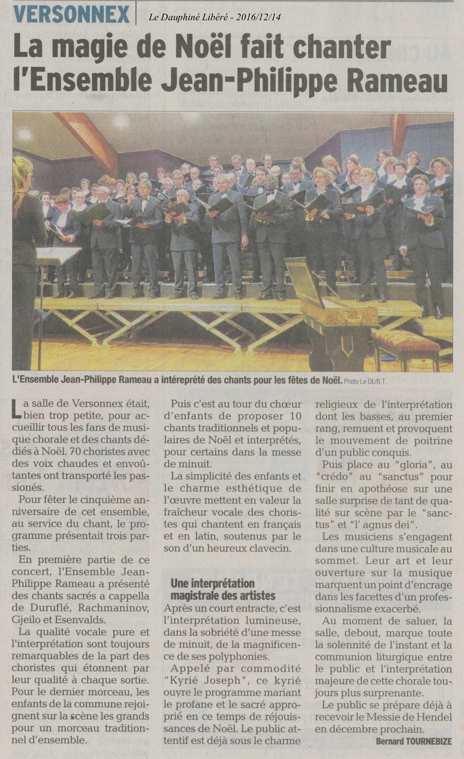La magie de Noël fait chanter l'Ensemble JP Rameau