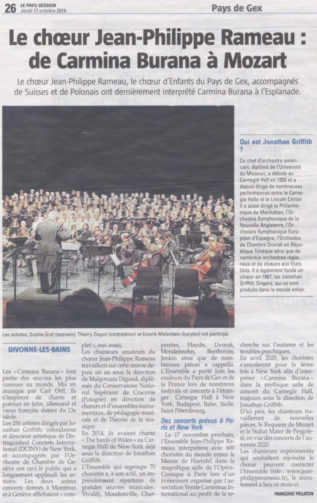 Le chœur Jean-Philippe Rameau : de Carmina Burana à Mozart